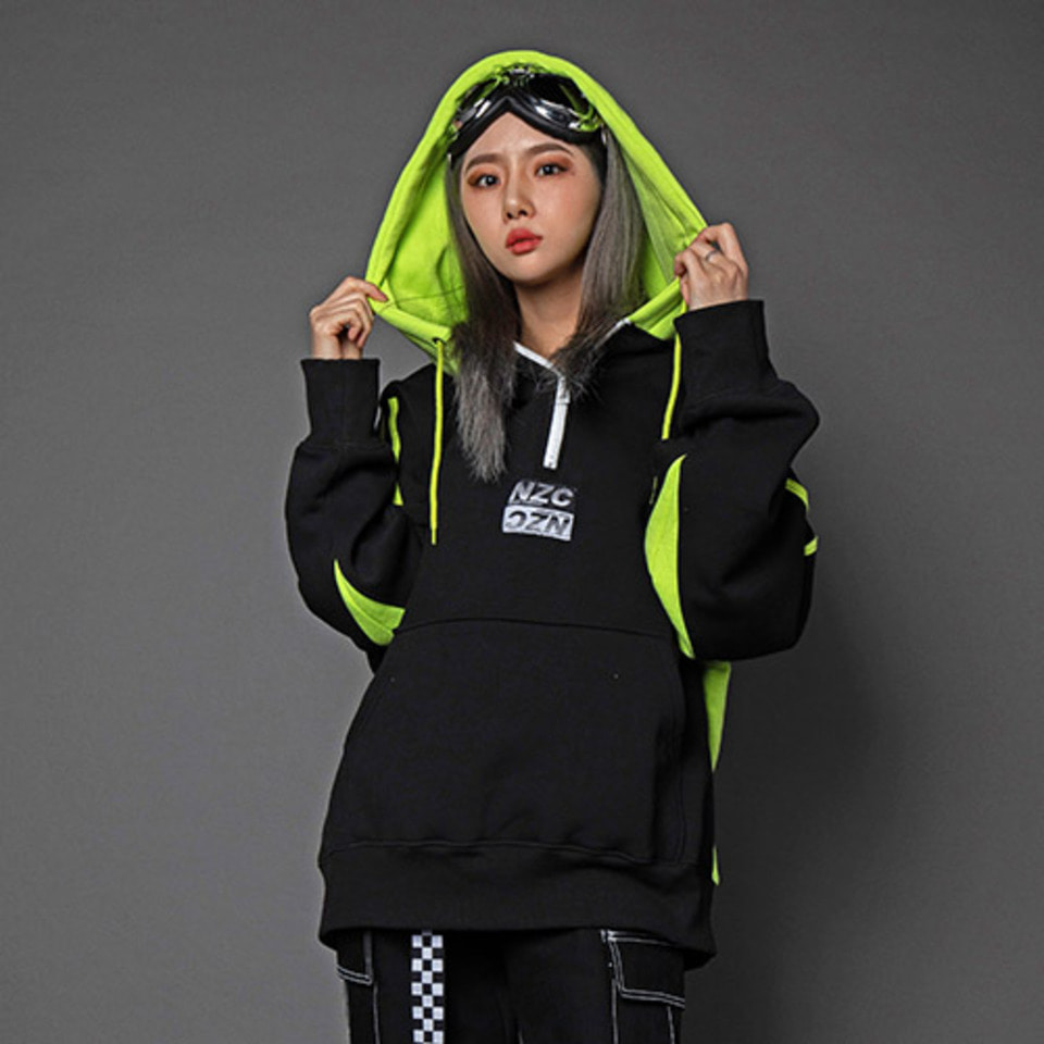 [Noizy Company] NZC ZIP UP HOOD (BLACK/NEON GREEN)