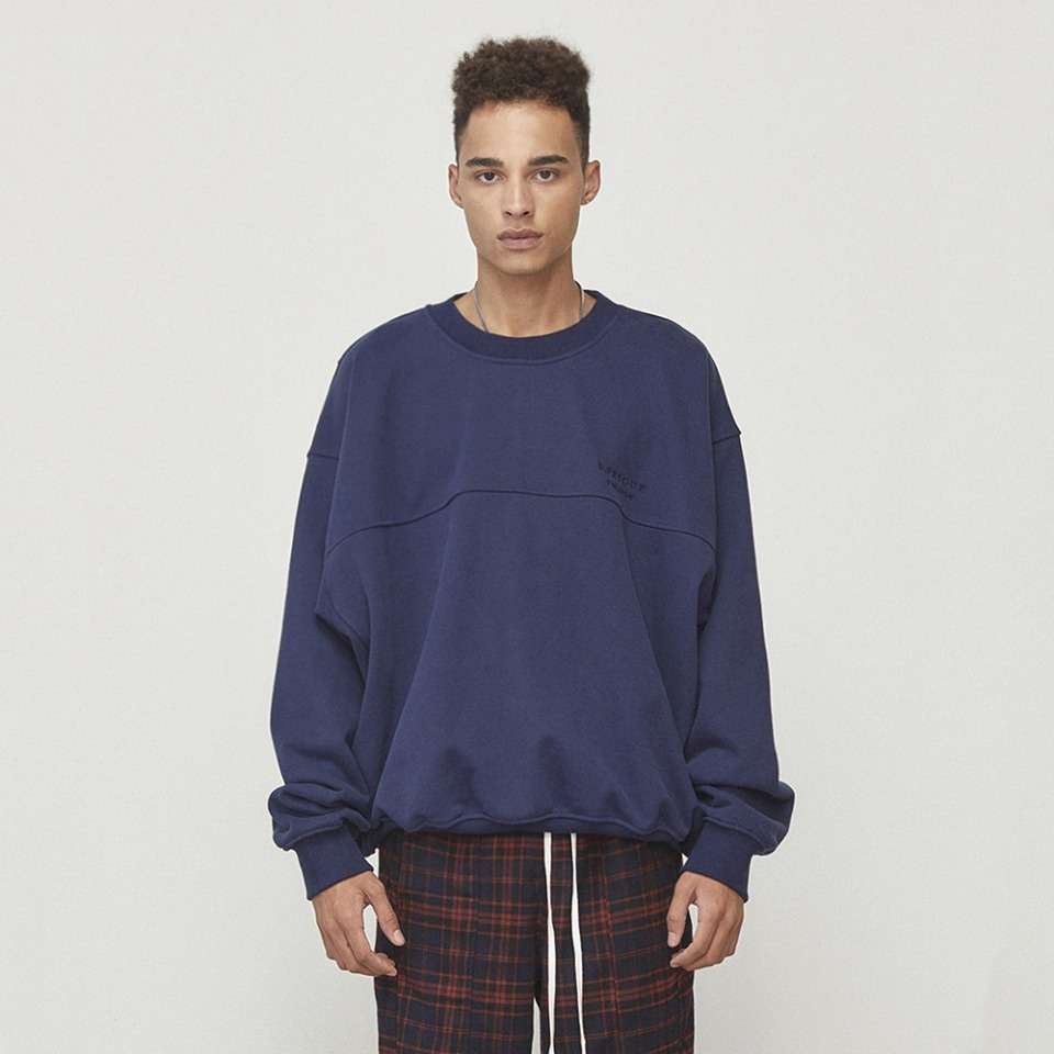 [D.PRIQUE] Oversized Sweatshirt Navy (D18F113)