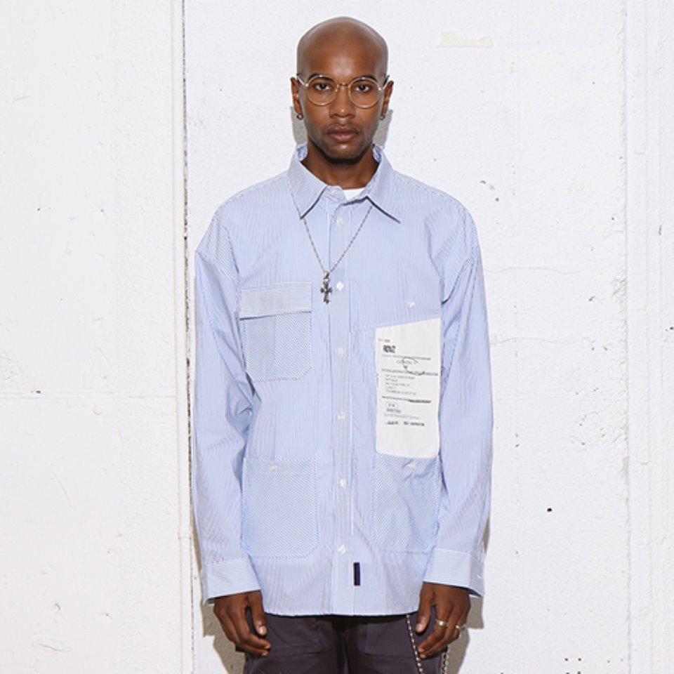 [RENDEZVOUZ] BIG LABEL POCKET SHIRTS SKYBLUE
