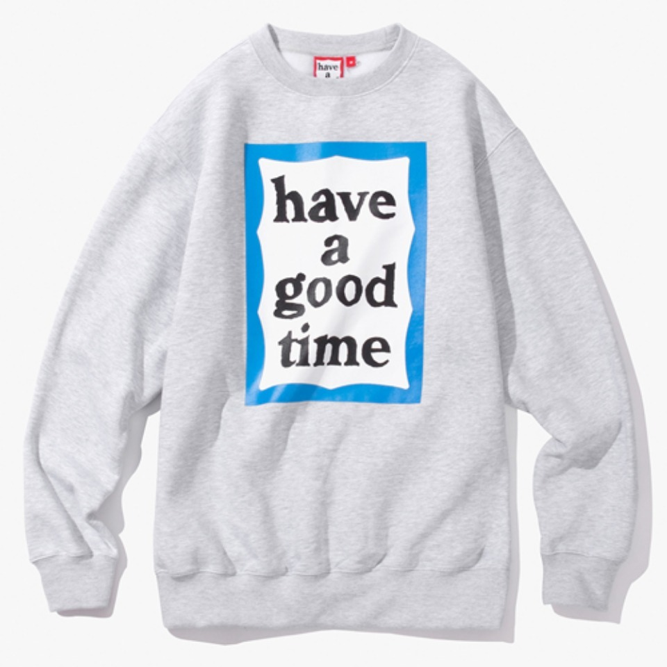 [Have a good time] BLUE FRAME CREWNECK - HEATHER GREY