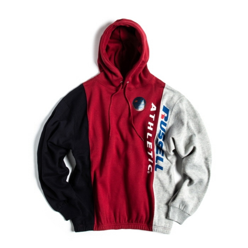 [RUSSELL ATHLETIC] NU BLEND SWEAT TRI-COLOR - CHERRYxNAVYxH.GREY