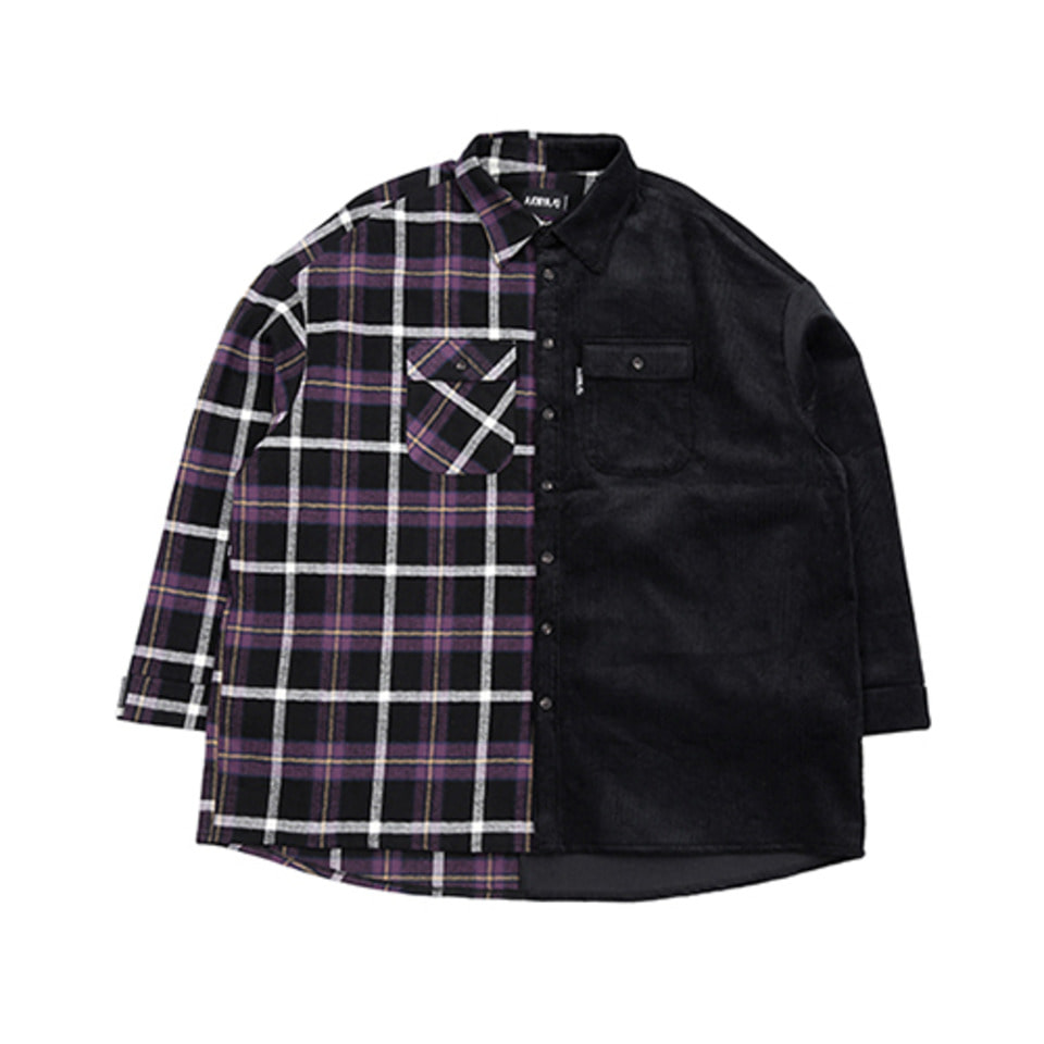 [AJOBYAJO] Check & Corduroy Jacket [Black]