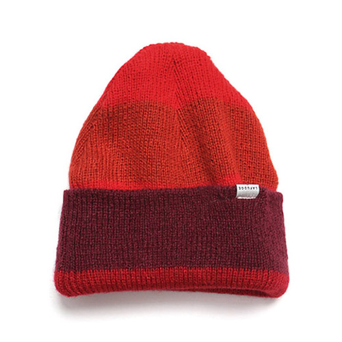 [LAFUDGESTORE] Angora Stripe Long Beanie_Red