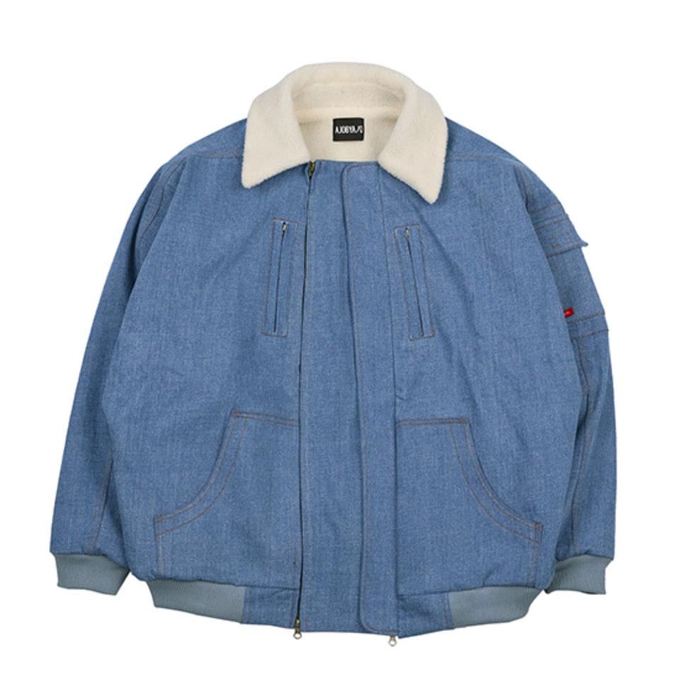 [AJOBYAJO] Denim Bomber Jacket  [Blue]