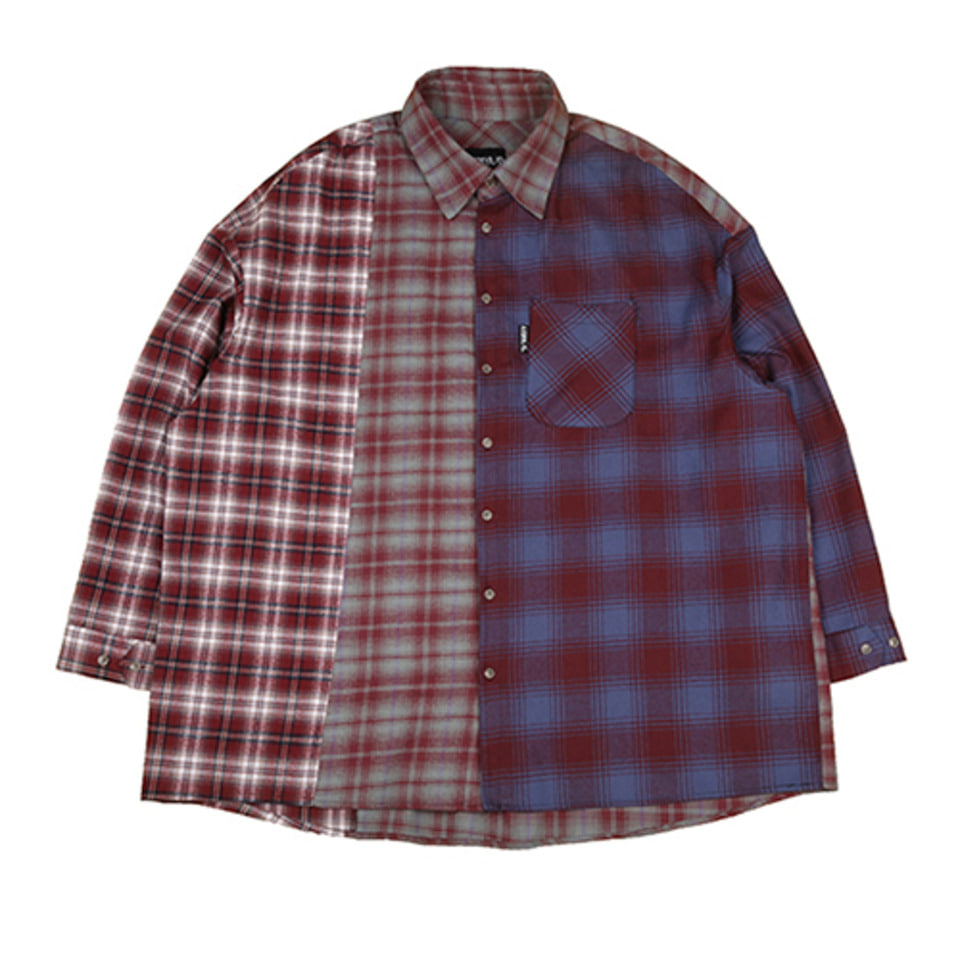 [AJOBYAJO] Tri Check Shirt [Burgundy]