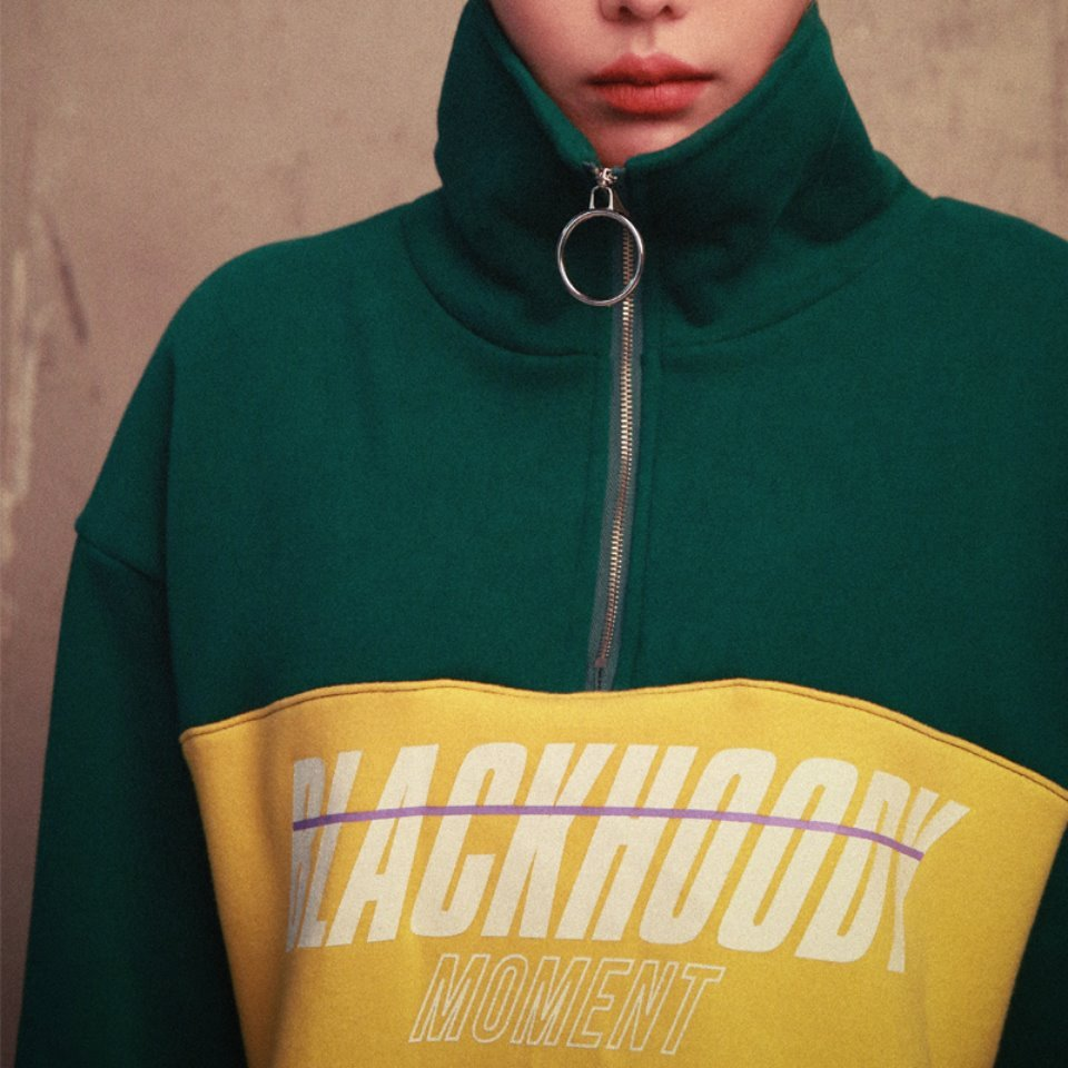 [BLACK HOODY] CROSSWISE MOMENT ANORAK GREEN