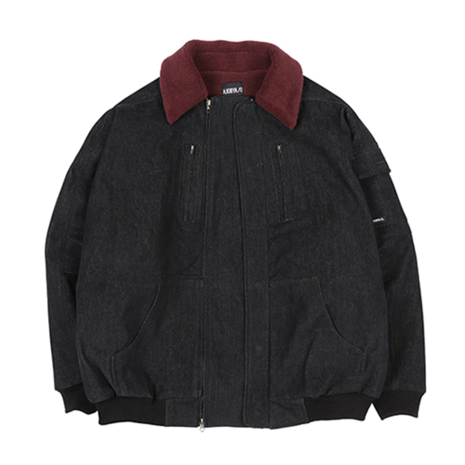 [AJOBYAJO] Denim Bomber Jacket  [Black]