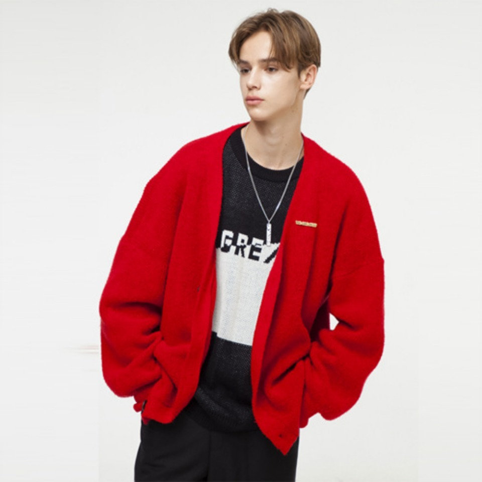 [THE GREATEST] GT18FW05 PENDANT CARDIGAN RED
