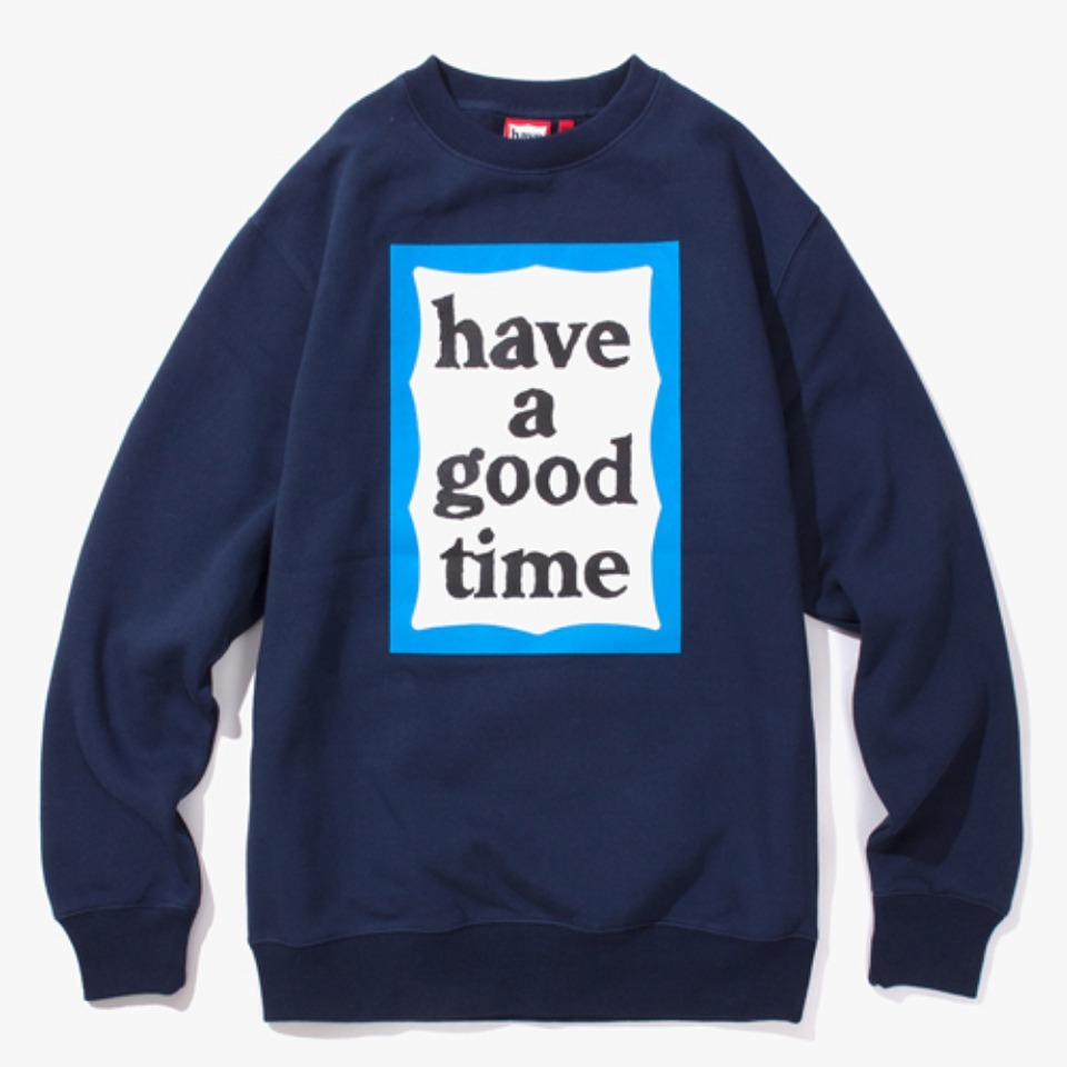 [Have a good time] BLUE FRAME CREWNECK - NAVY