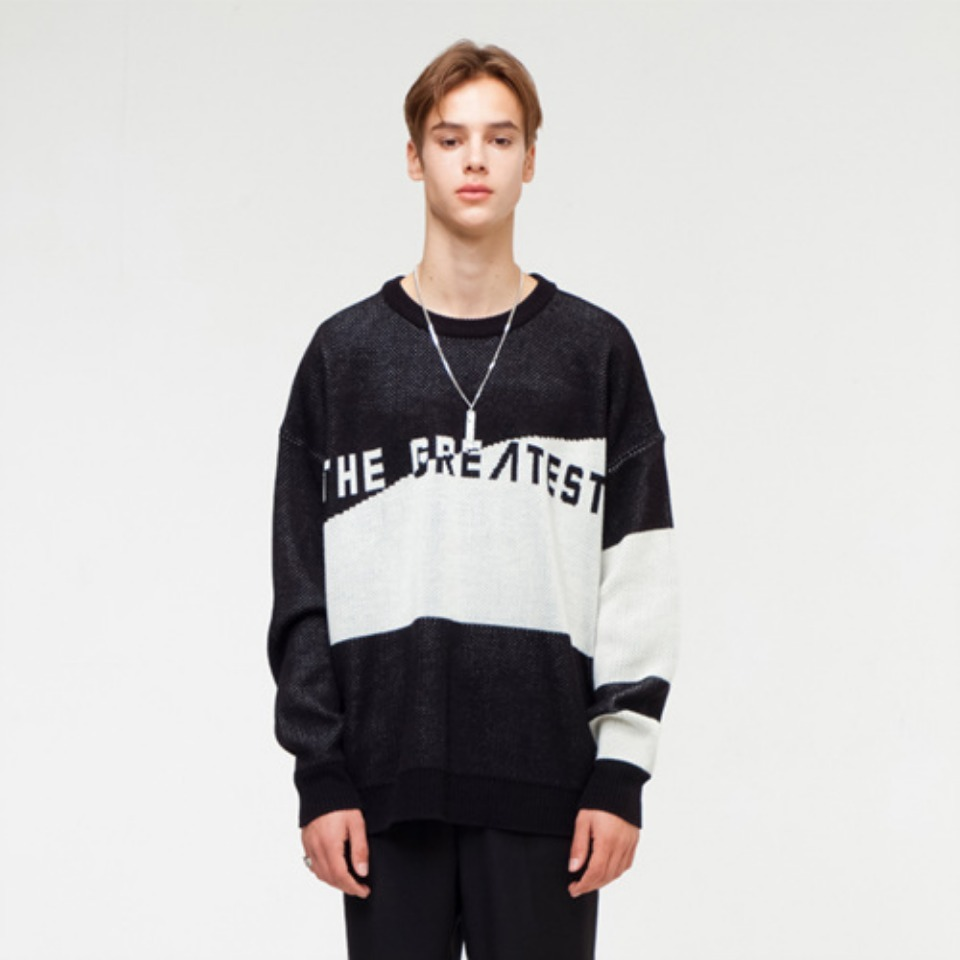 [THE GREATEST] GT18FW04 OVERSIZE LOGO KNIT BLACK