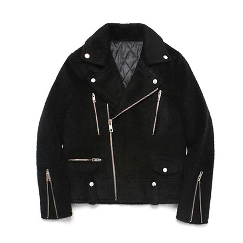 [LAFUDGESTORE] Teddy Bear Rider Jacket_Black