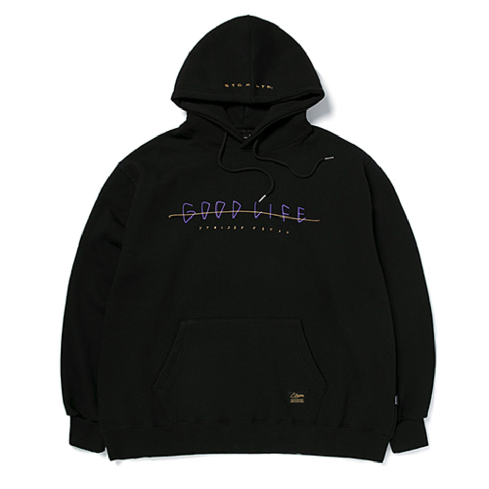 [STIGMA]GOOD LIFE OVERSIZED HEAVY SWEAT HOODIE - BLACK