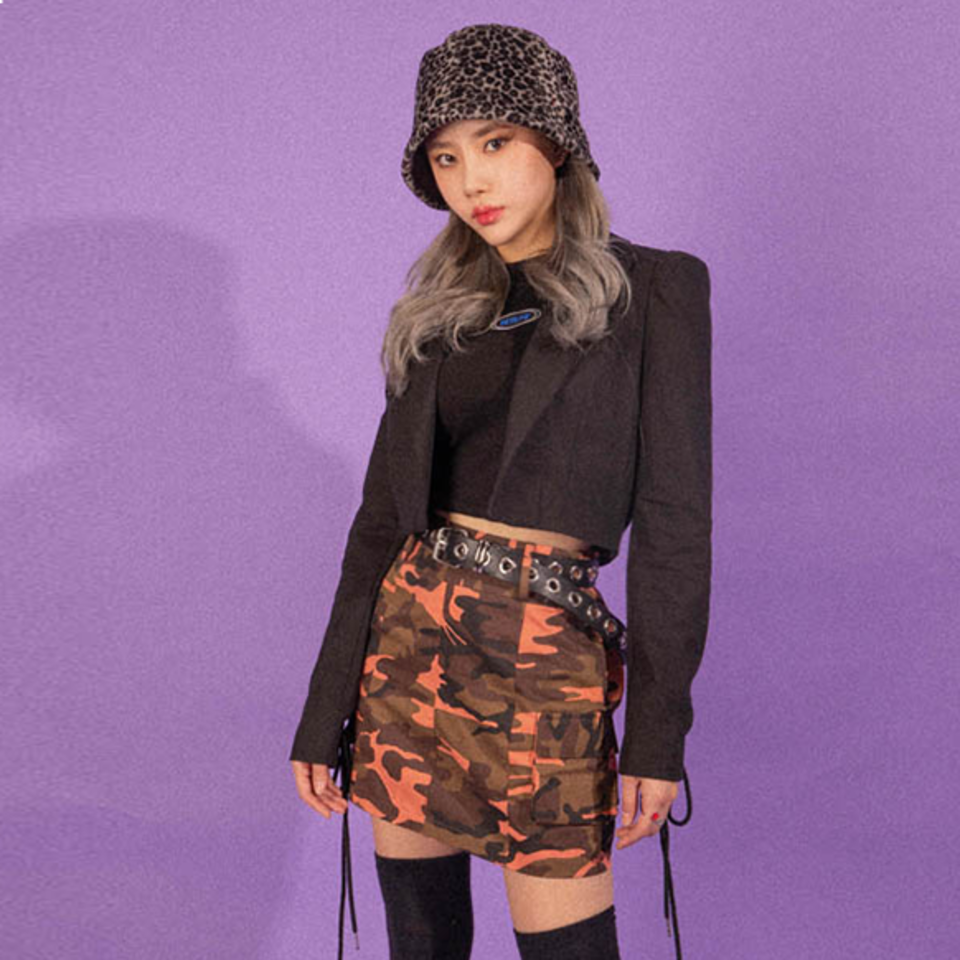 [BLUE PIE] Pocket Camo Skirt - PINK