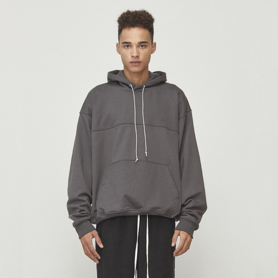[D.PRIQUE] Oversized String Hoodie Charcoal (D18F152)