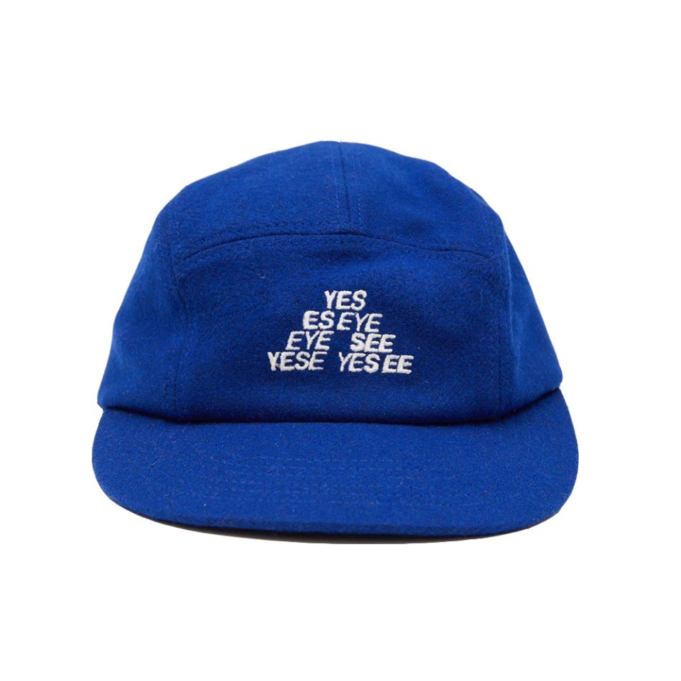 [yeseyesee]  TM LOGO WOOL CAMP CAP BLUE