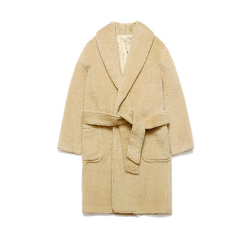 [LAFUDGESTORE] Teddy Bear Robe Coat_Beige