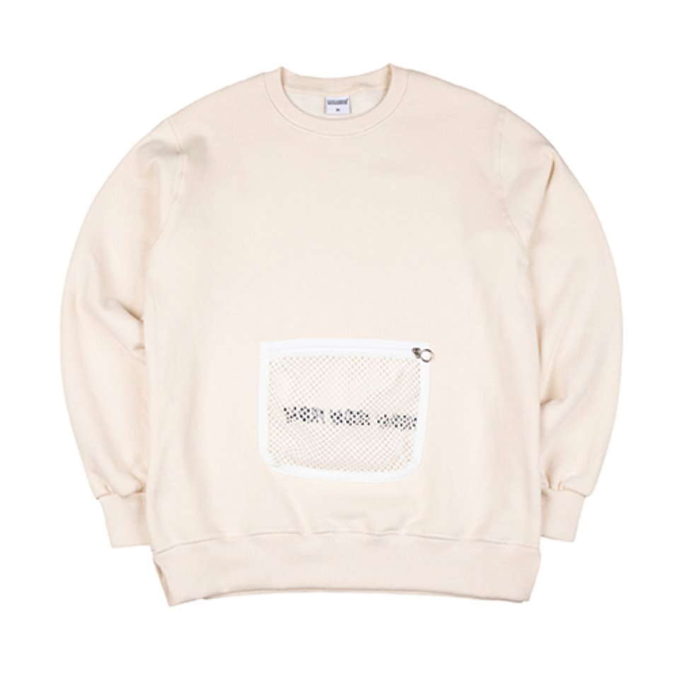 [하운드빌]MESH POCKET crewneck cream (양기모)