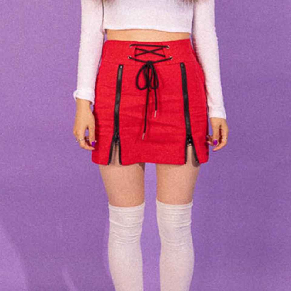 [BLUE PIE] Eyelet Zip Skirt - RED