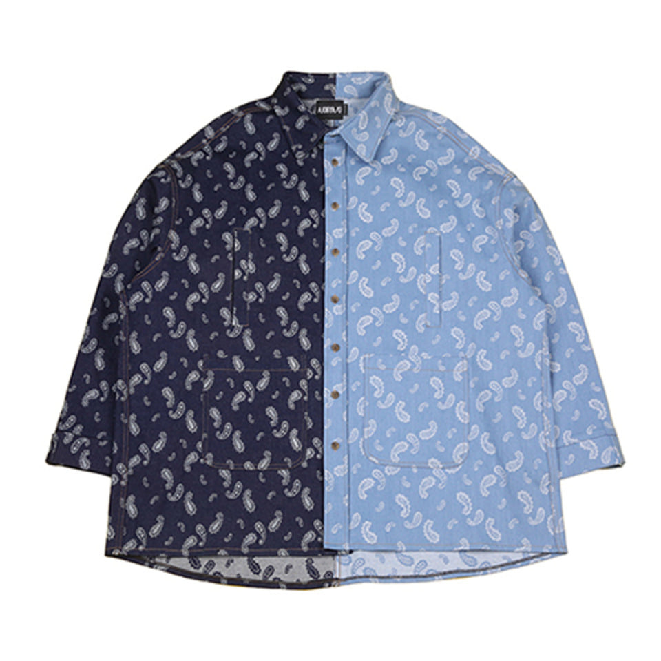 [AJOBYAJO] Paisley Jacquard Denim Jacket [Blue]