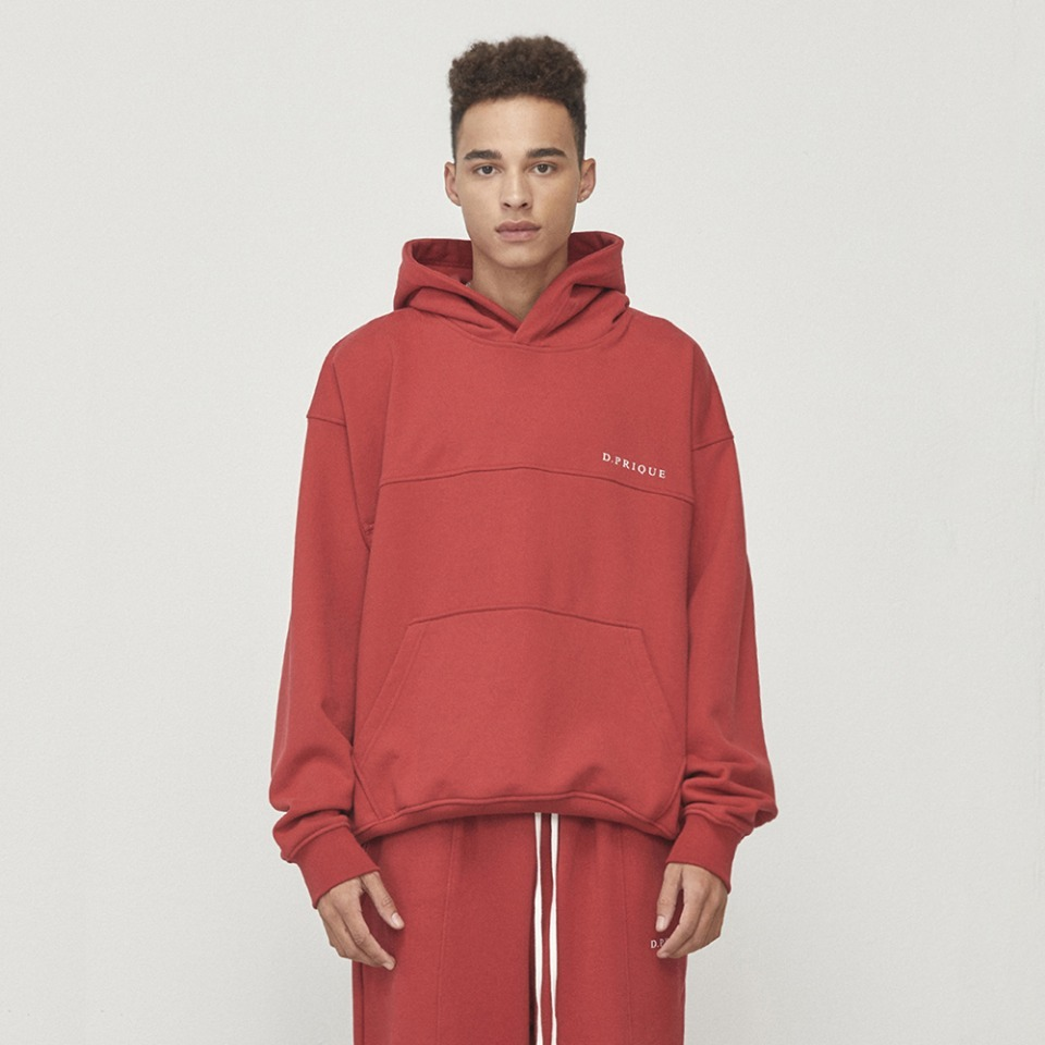[D.PRIQUE] Oversized Logo Hoodie Red (D18F092)