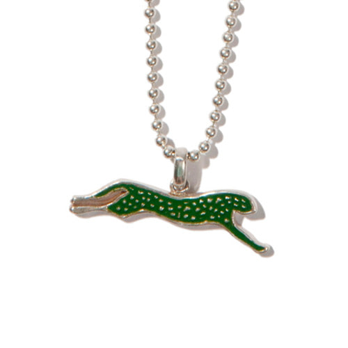 [KRUCHI] Cheetah necklace (silver,green)