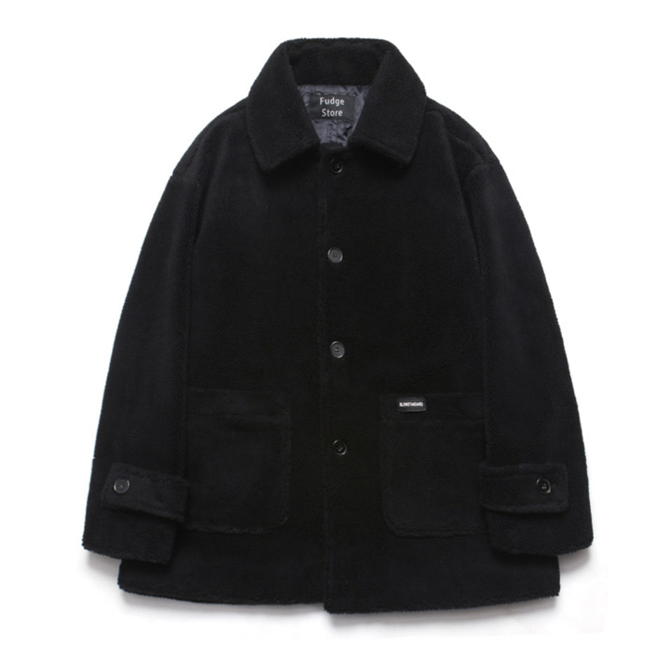 [LAFUDGESTORE]Fleece Over Half Coat_Black