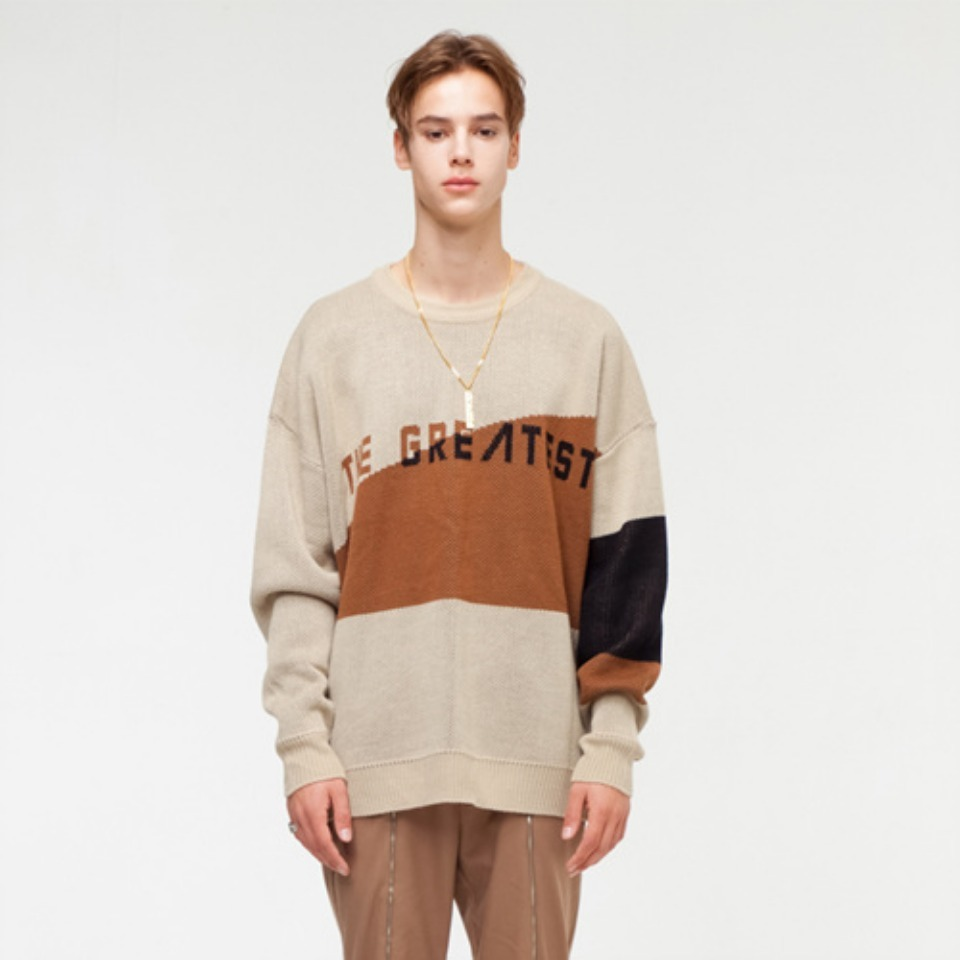 [THE GREATEST] GT18FW04 OVERSIZE LOGO KNIT BROWN