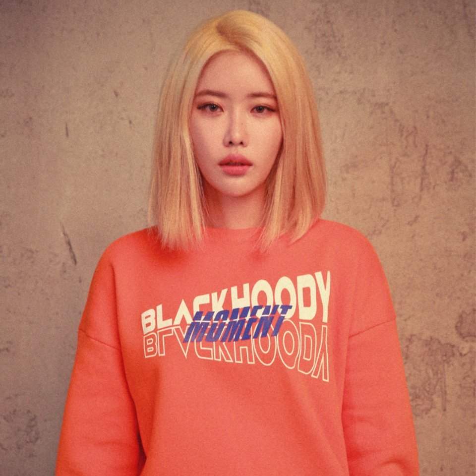 [BLACK HOODY] DIAGONAL MOMENT CREWNECK SWEATSHIRT ORANGE