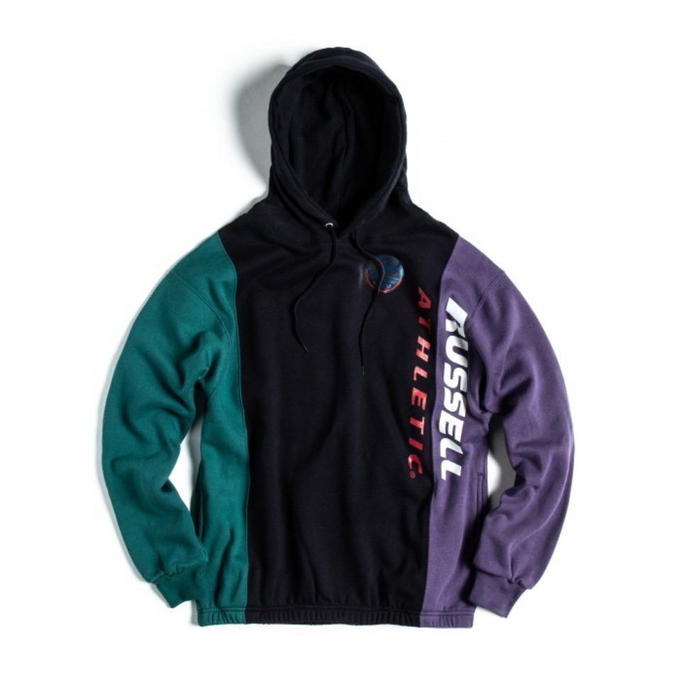 [RUSSELL ATHLETIC] NU BLEND SWEAT TRI-COLOR - NAVYxHARBORxPLUM