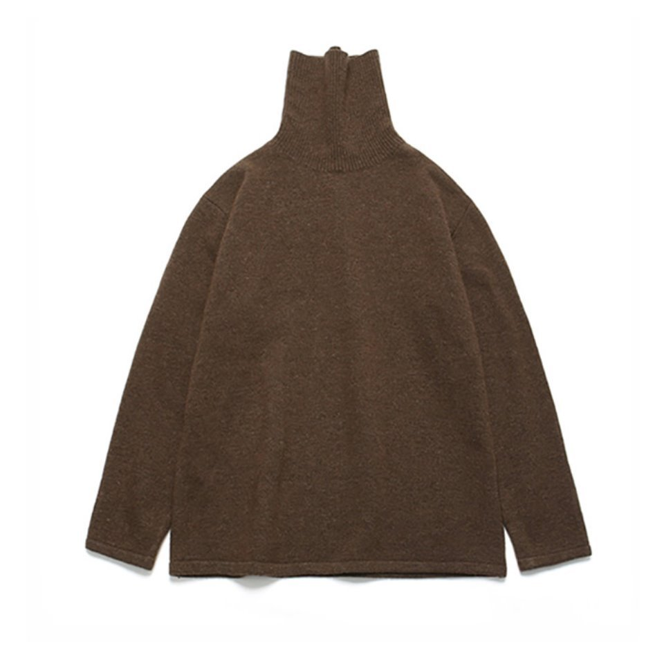 [LAFUDGESTORE] (Unisex)Cashmere Wool Polo Neck Knit_Classic Brown