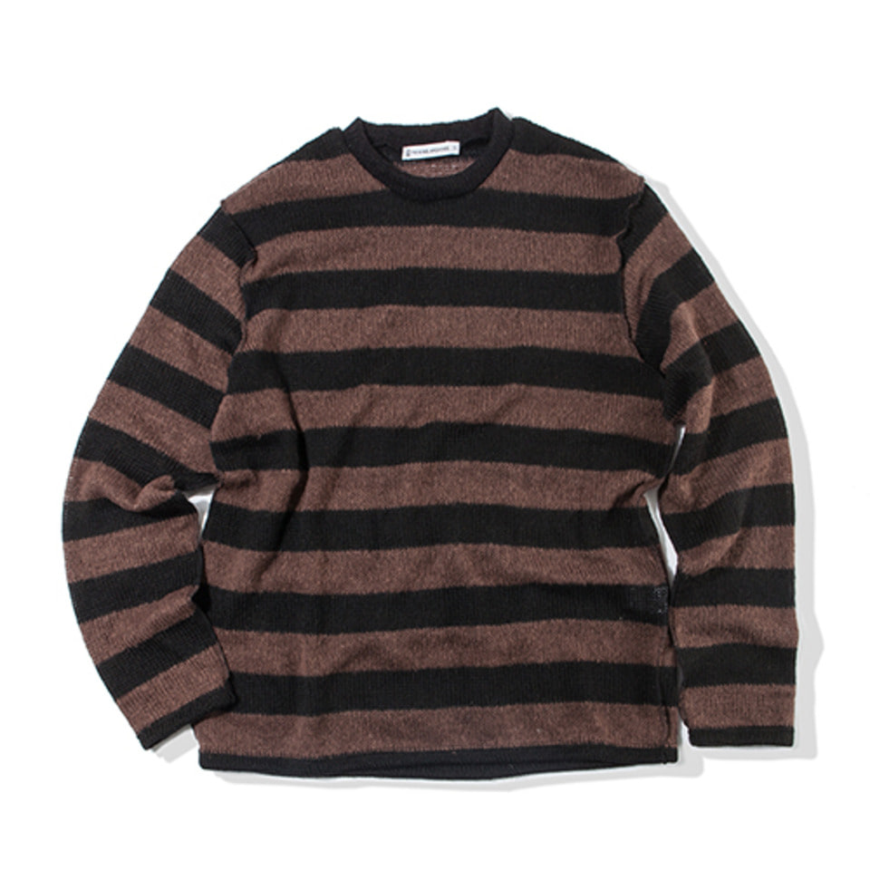 [KING] Mohair Striped Sweater -Brown