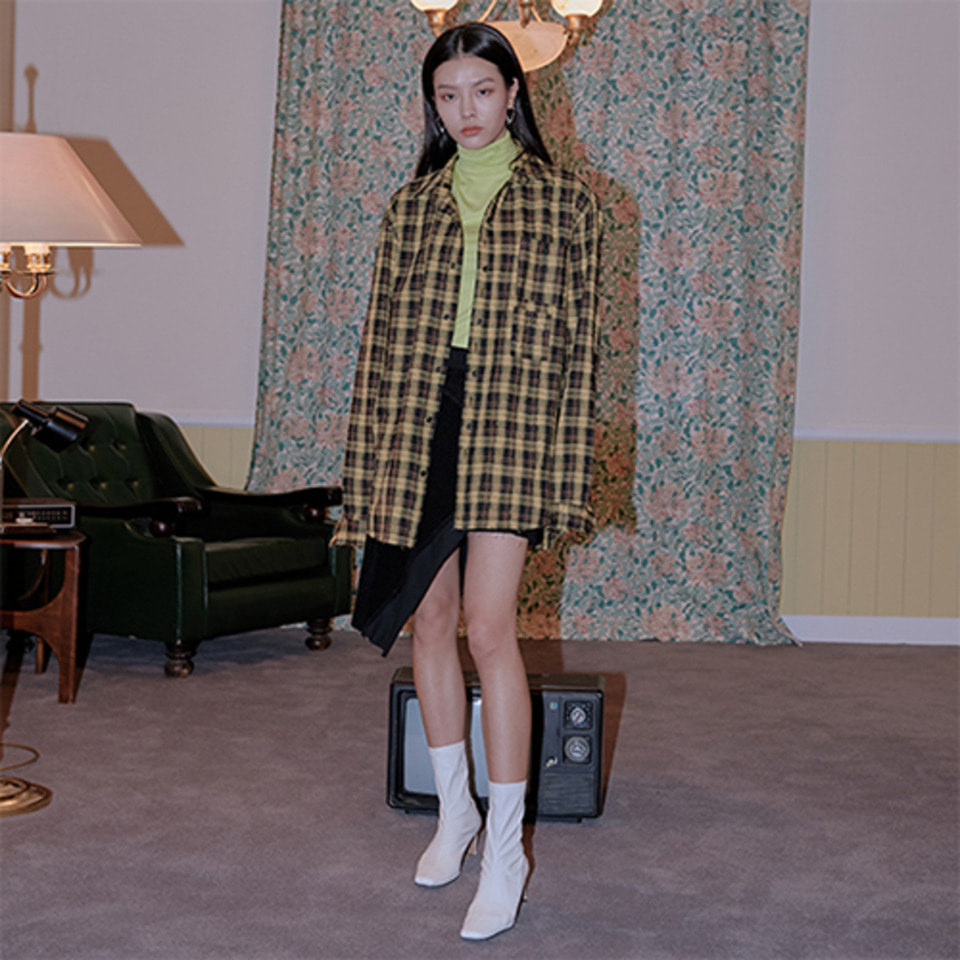[XYZ][후드탈부착] UNISEX HOODED CHECK SHIRTS - YELLOW