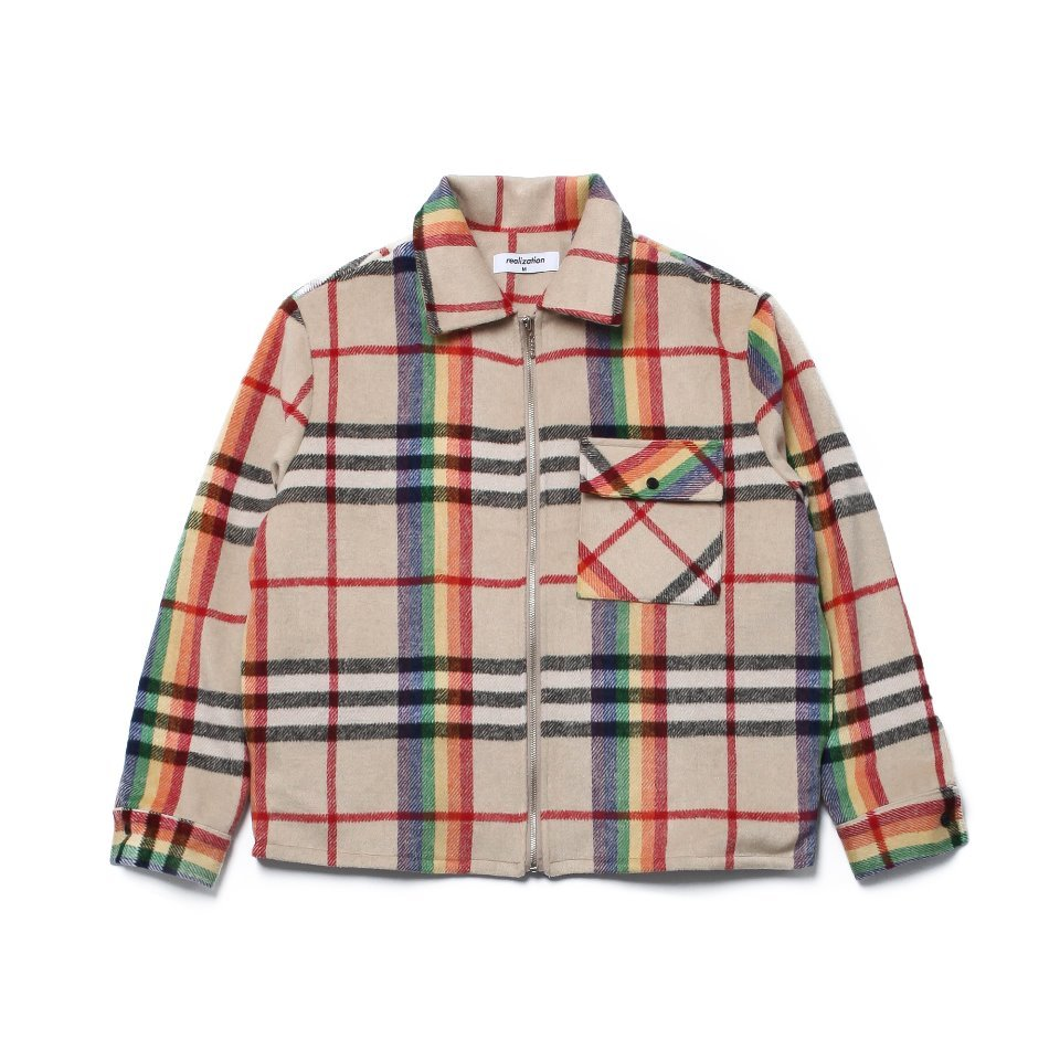 [Realization] Rainbow Check Zip Up Jacket