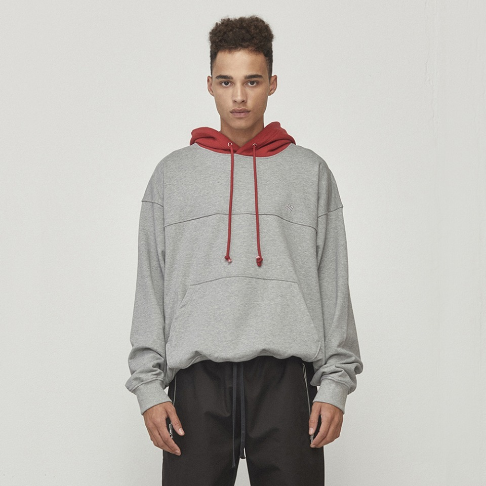 [D.PRIQUE] Oversized Contrast Hoodie Grey & Red (D18F123)