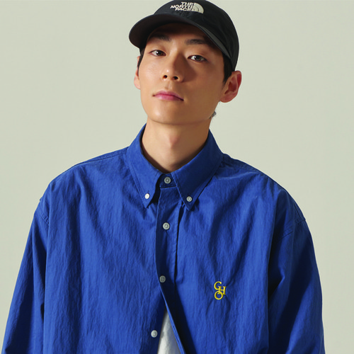 [CHOISI]Cotton Loose Fit Shirt, Blue