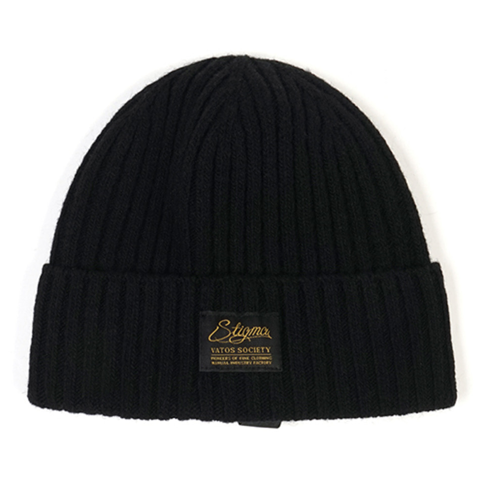 [STIGMA]LABEL WOOL BEANIE - BLACK