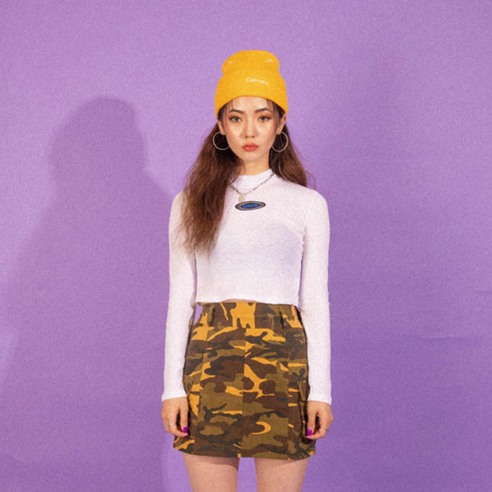 [BLUE PIE] Pocket Camo Skirt - YELLOW