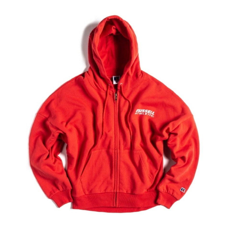 [RUSSELL ATHLETIC] BOOKSTORE SWEAT BAT-WING ZIP UP HOODIE (WOMEN'S) - SCARLET