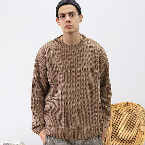 [TENBLADE] [Project 36.5]Over Fit Drop Shoulder Heavy Knit_Brown