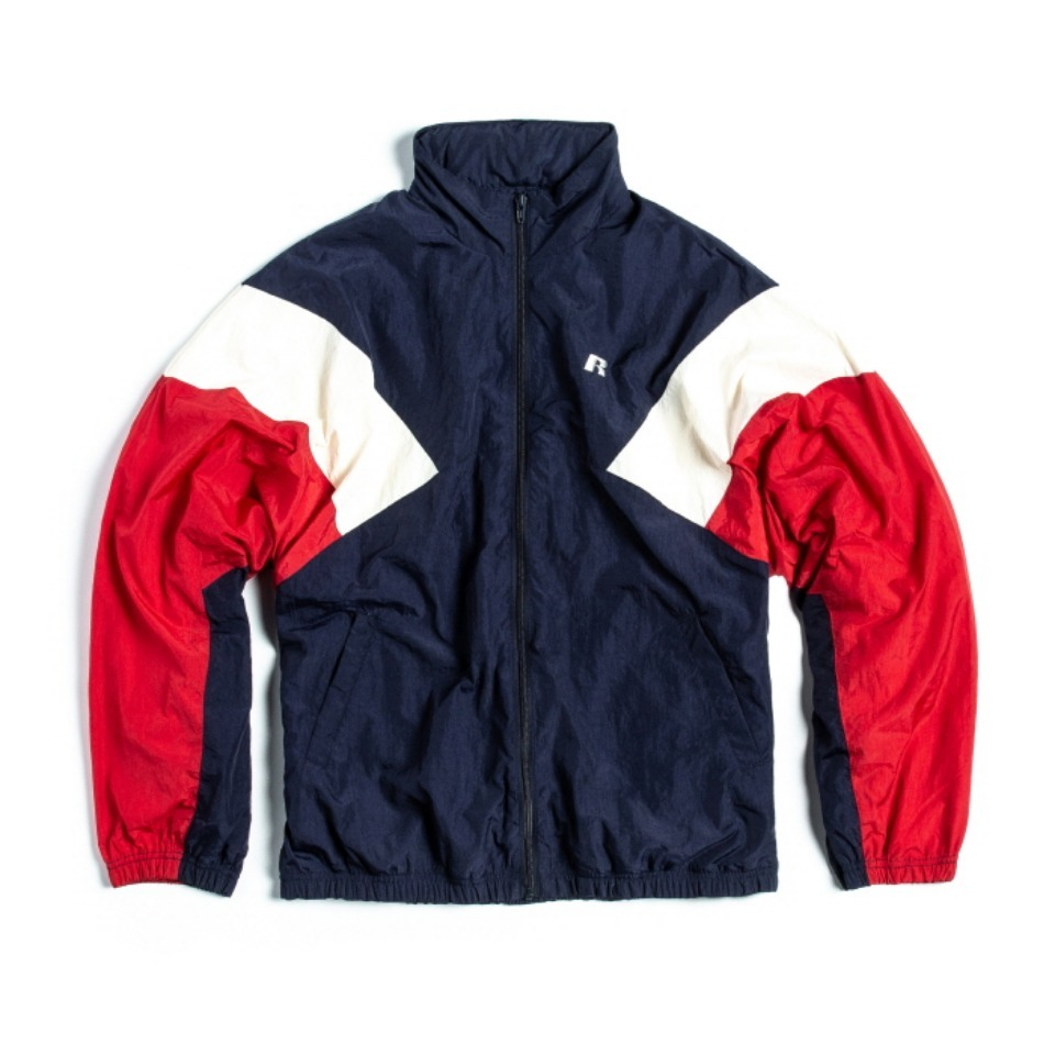 [RUSSELL ATHLETIC] NYLON SHELL TRACK JACKET - NAVYxRED