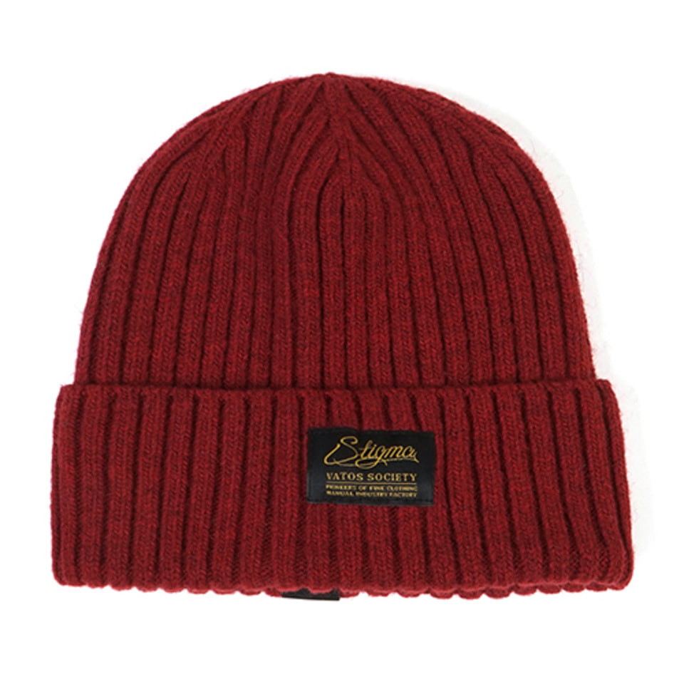 [STIGMA]LABEL WOOL BEANIE - BURGUNDY