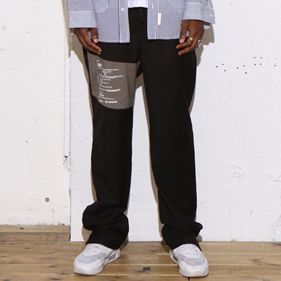 [RENDEZVOUZ] LABEL BLOCK SLACKS BLACK