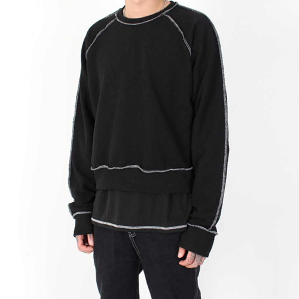 [Burj Surtr] Stich Crop Crew Neck - Black
