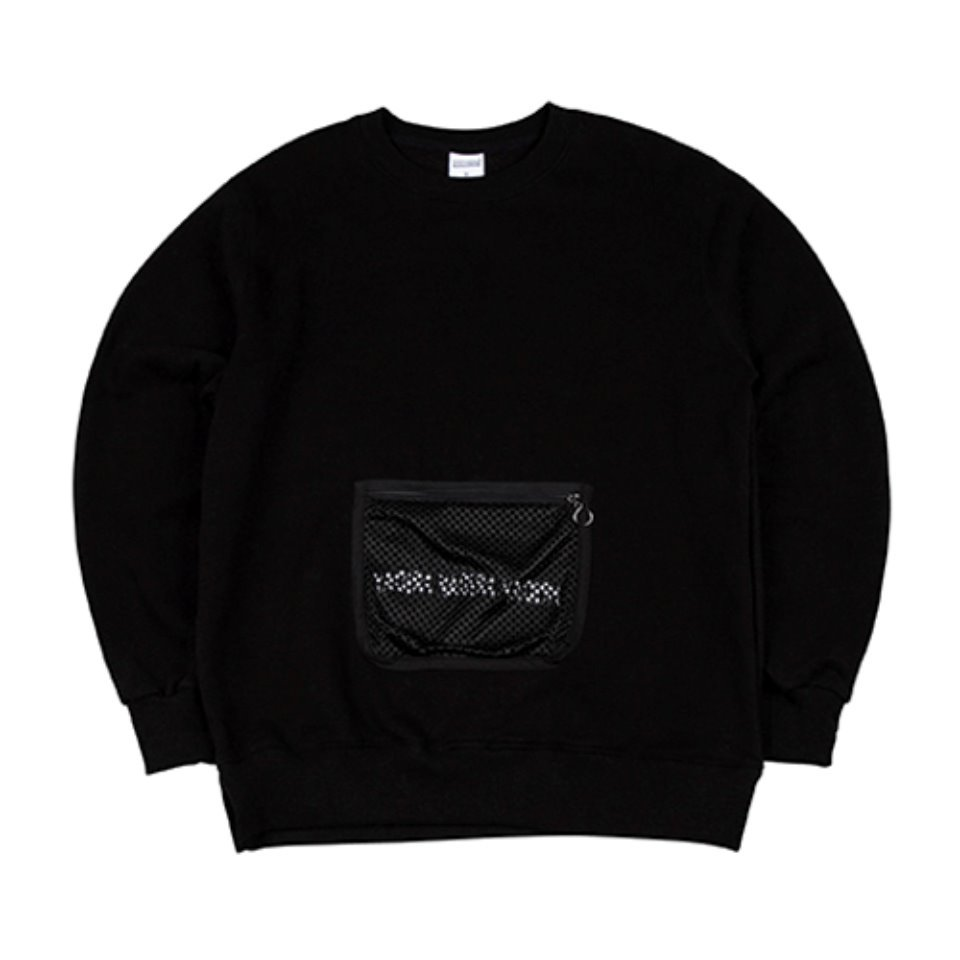 [하운드빌]MESH POCKET crewneck black (양기모)