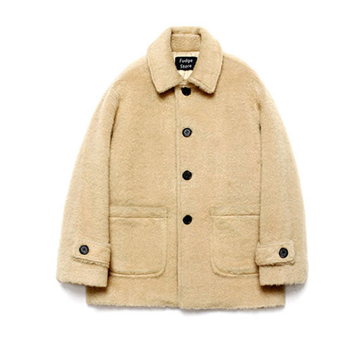 [LAFUDGESTORE] Teddy Bear Over Half Coat_Beige