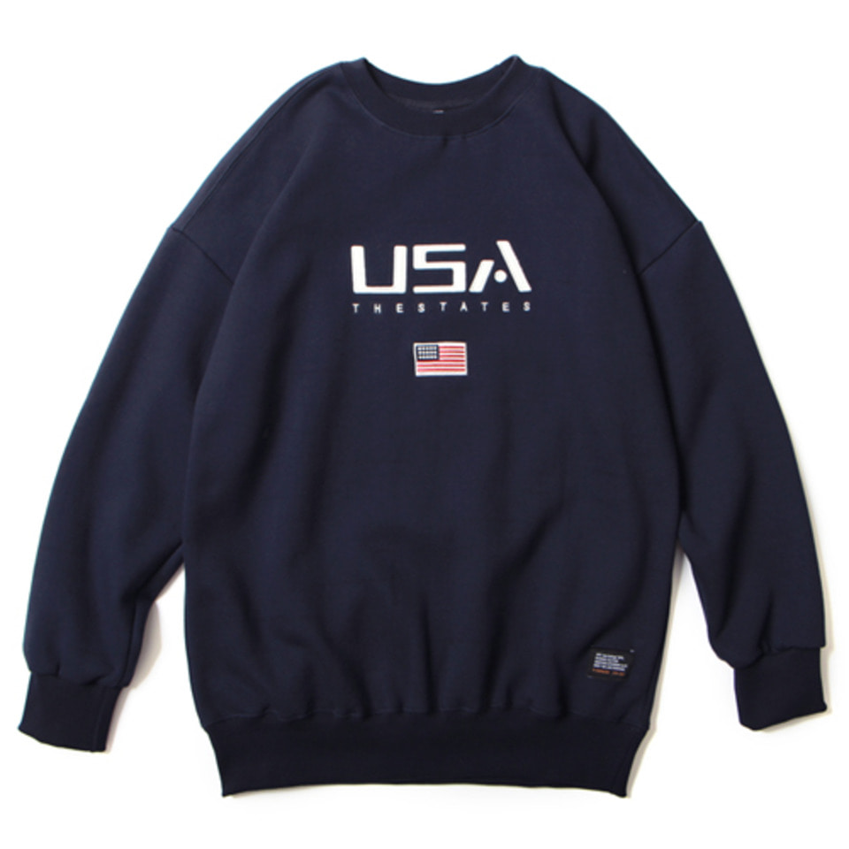 [앱놀머씽] 18 USA Crewneck (Navy)