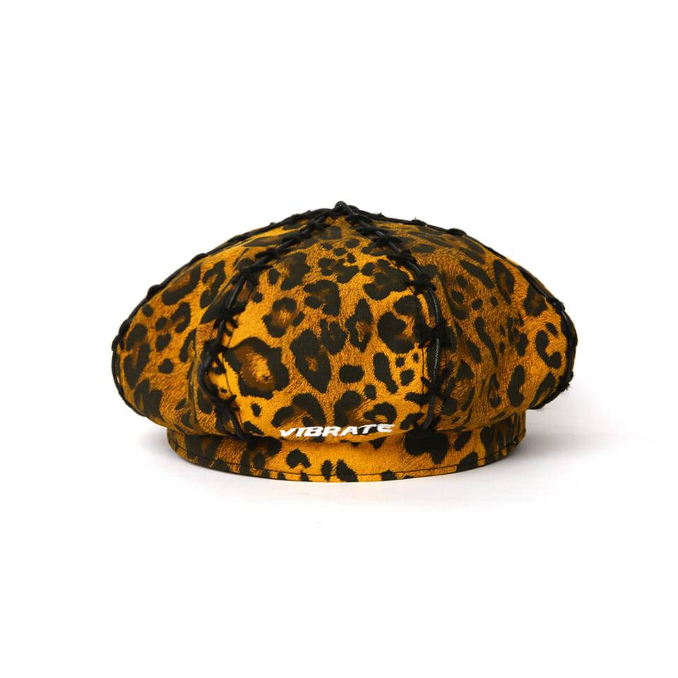 [VIBRATE] - LEATHER POINT LEOPARD BERET [예약발송] 10월 19일 입고예정