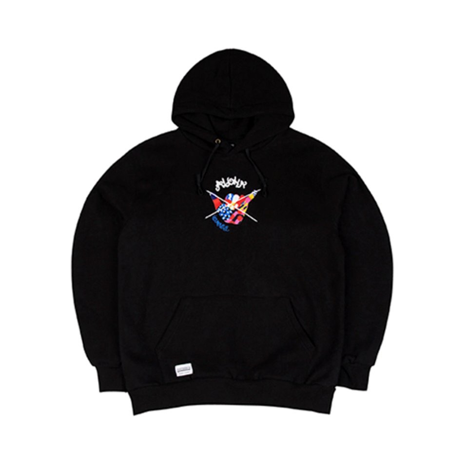 [하운드빌]SHAKA HANDS hoody black (양기모)