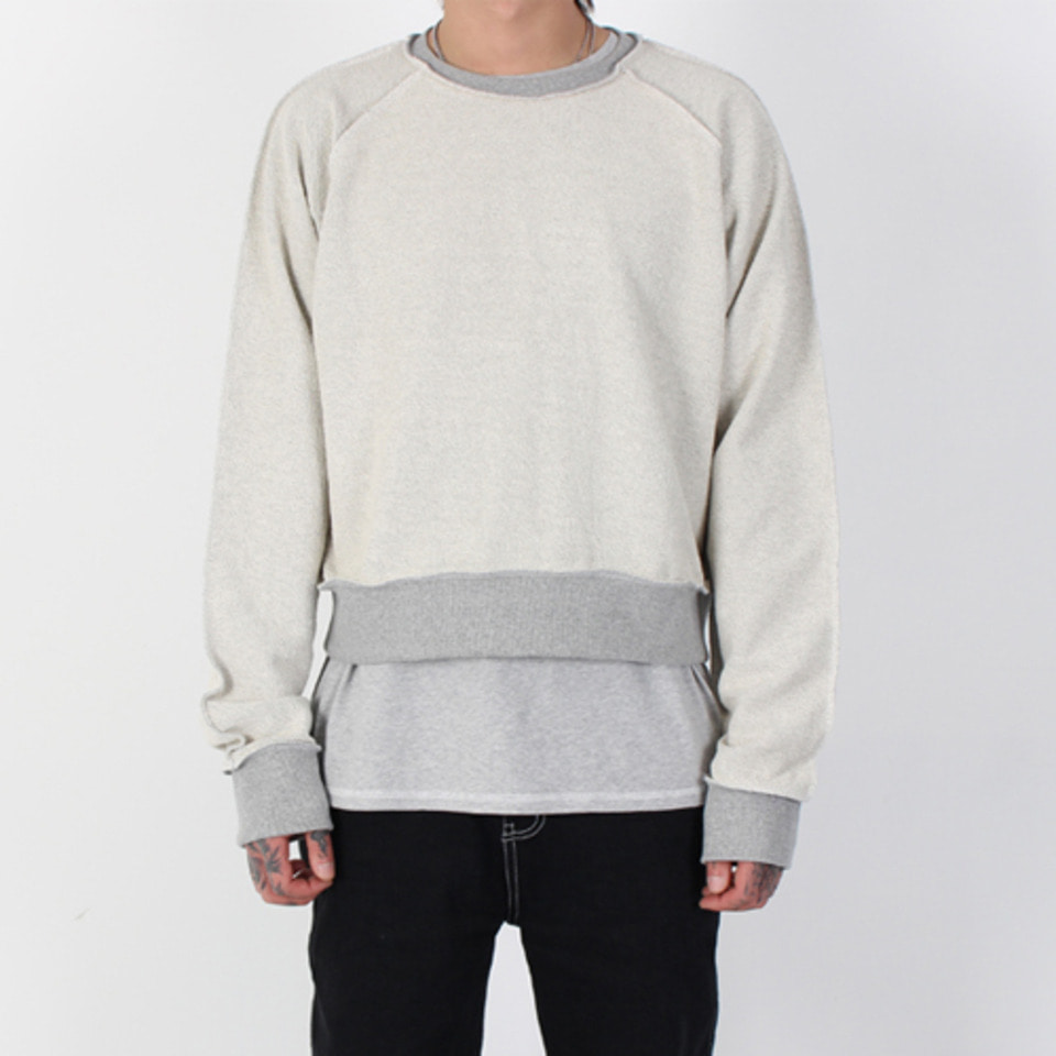[Burj Surtr] Stitch Crop Crew Neck - Gray