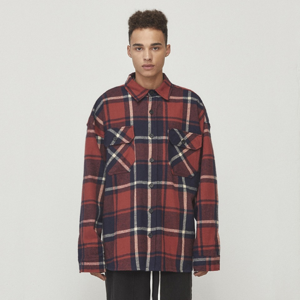 [D.PRIQUE] Oversized Check Shirt Red & Navy (D18F082)